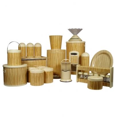 سرویس جهیزیه 25پارچه طرح چوب روشن در پلیمری