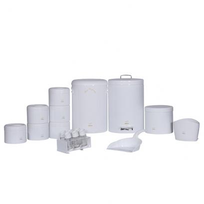 سرویس جهیزیه 18 پارچه ساده سفید در پلیمری