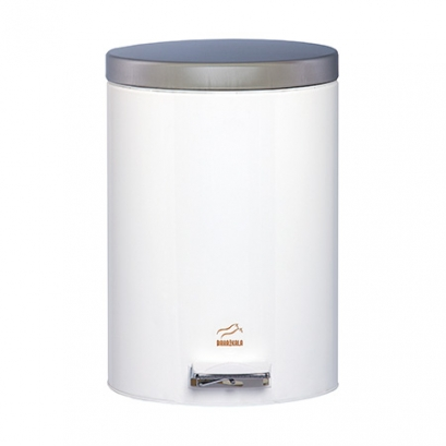 سطل زباله پدالدار 14 لیتری سایلنت سفید در استیل