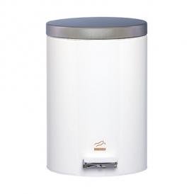 سطل زباله پدالدار 6 لیتری سفید براق در استیل
