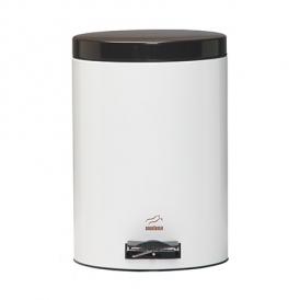 سطل زباله پدالدار 14 لیتری سفید براق در قهوه ای